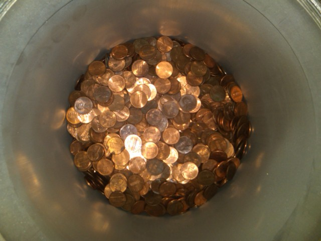 $75 in pennies doesn't even fill the smallest tube halfway.